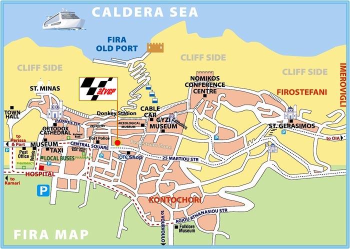 Santorini Maps Atv GP Rentals location in Fira town Santorini